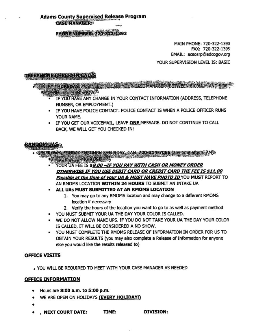 Pretrail services intake sheet